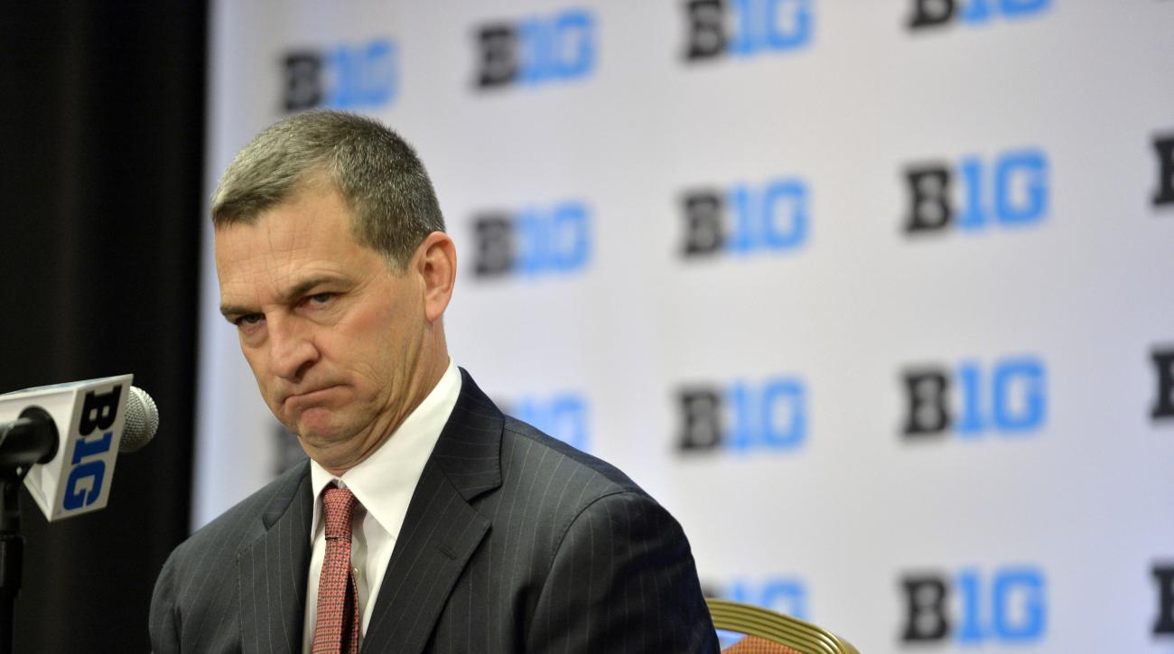 Maryland men's basketball head coach Mark Turgeon speaks at the NCAA college Big Ten Media Day in Chicago, Thursday, Oct. 15, 2015.  (AP Photo/Paul Beaty)