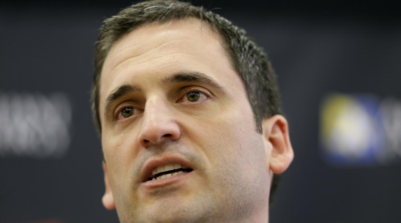 In this June 9, 2015, photo,  new Iowa State men's basketball coach Steve Prohm speaks during a news conference in Ames, Iowa. Prohm has inherited one of the nation's most talented rosters and perhaps the country's smartest player in senior Georges Niang.