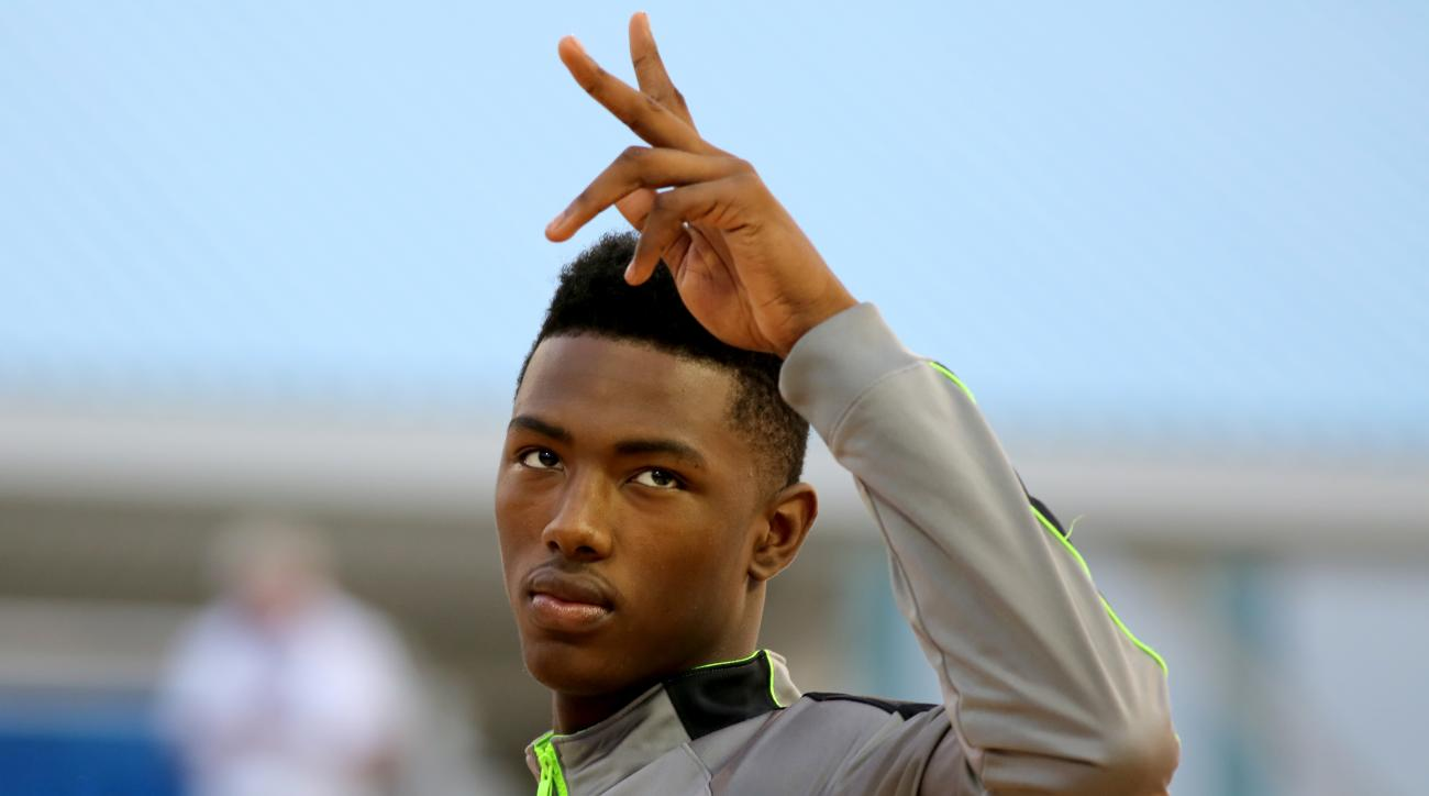 Harry Giles of Wesleyan Christian is seen before the Under Armour Elite 24 Skills Competition on Friday, August 22, 2014 in New York, NY.  (AP Photo/Gregory Payan)