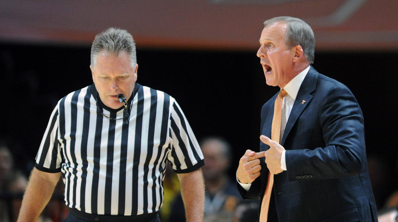 Tennessee coach Rick Barnes shouts from the sideline during the first half against Alabama-Huntsville in a college basketball exhibition game Friday, Nov. 6, 2015, in Knoxville, Tenn. (Adam Lau/Knoxville News Sentinel via AP)