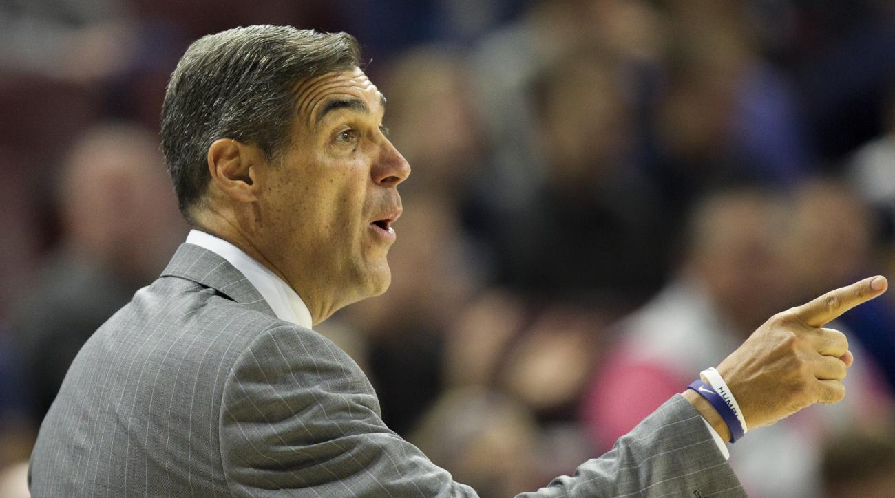 Villanova head coach Jay Wright shouts from the bench during the first half of an NCAA college basketball game against Pace, Sunday, Nov. 8, 2015, in Philadelphia, Pa.  (AP Photo/Laurence Kesterson)