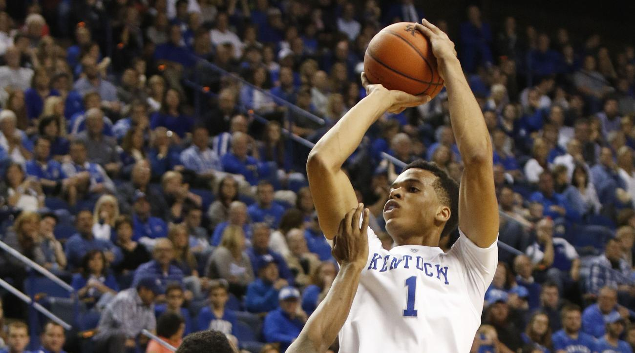 FILE - In this Nov. 6, 2015, file photo, Kentucky's Skal Labissiere (1) shoots over the defense of Kentucky State's William Bryant (32) during the second half of an NCAA college exhibition basketball game in Lexington, Ky. Labissiere is expected to be one