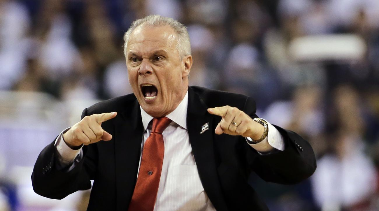 FILE - In this April 4, 2015, file photo, Wisconsin head coach Bo Ryan reacts during the second half of the NCAA Final Four tournament college basketball semifinal game against Kentucky, in Indianapolis. (AP Photo/David J. Phillip, File)