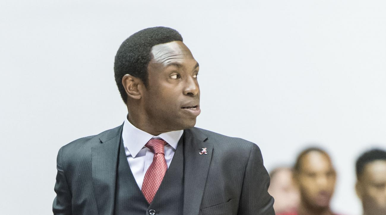 Alabama head coach Avery Johnson paces the sideline against Kennesaw State during an NCAA college basketball game, Friday, Nov. 13, 2015, at Coleman Coliseum in Tuscaloosa, Ala.  (Vasha Hunt/AL.com via AP) MAGS OUT; MANDATORY CREDIT
