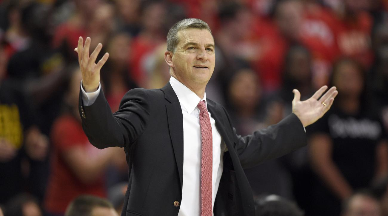 FILE - In this Nov. 13, 2015, file photo, Maryland head coach Mark Turgeon gestures during the first half of an NCAA college basketball game against Mount St. Mary's, in College Park, Md.  It's been so long since Georgetown and Maryland met in a basketbal
