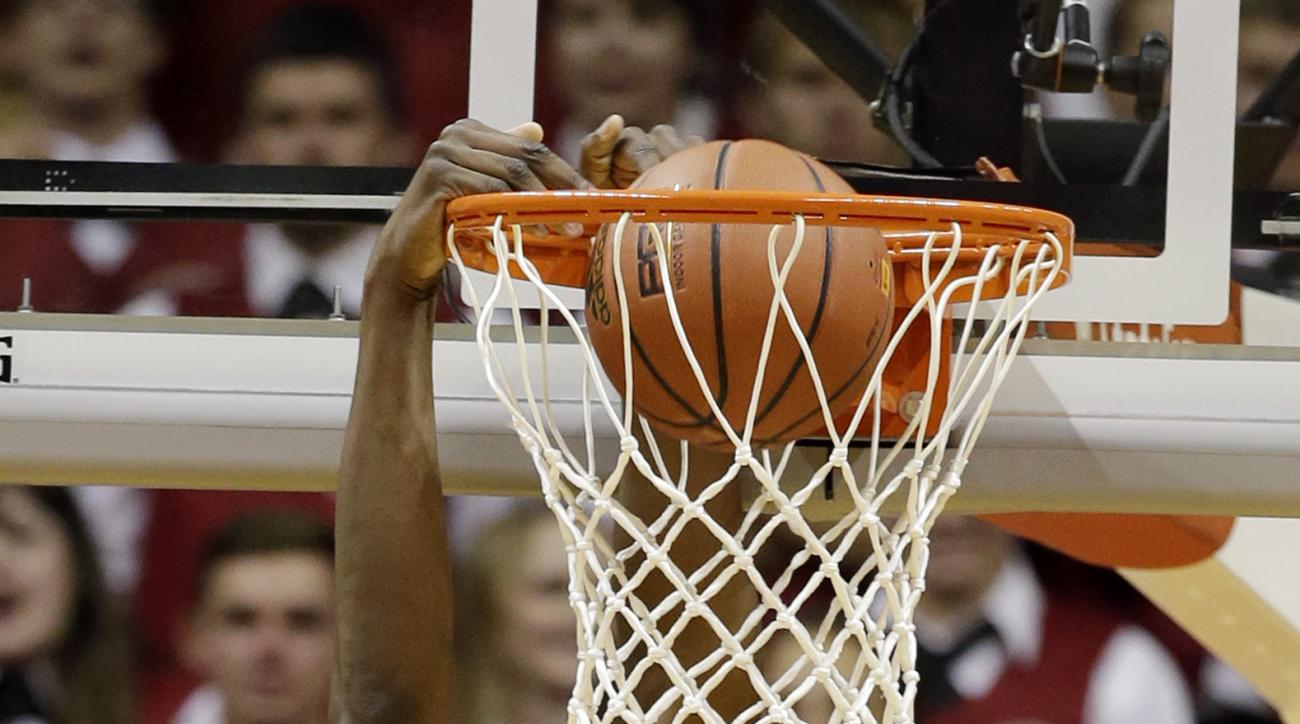 Indiana's Thomas Bryant dunks during the first half of an NCAA college basketball game against the Austin Peay, Monday, Nov. 16, 2015, in Bloomington, Ind. (AP Photo/Darron Cummings)