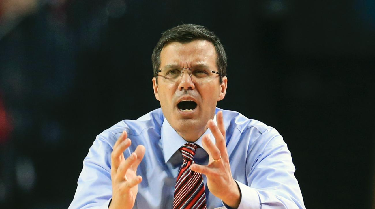 Nebraska coach Tim Miles yells instructions during the first half of an NCAA college basketball game against Delaware State in Lincoln, Neb., Thursday, Nov. 19, 2015. (AP Photo/Nati Harnik)