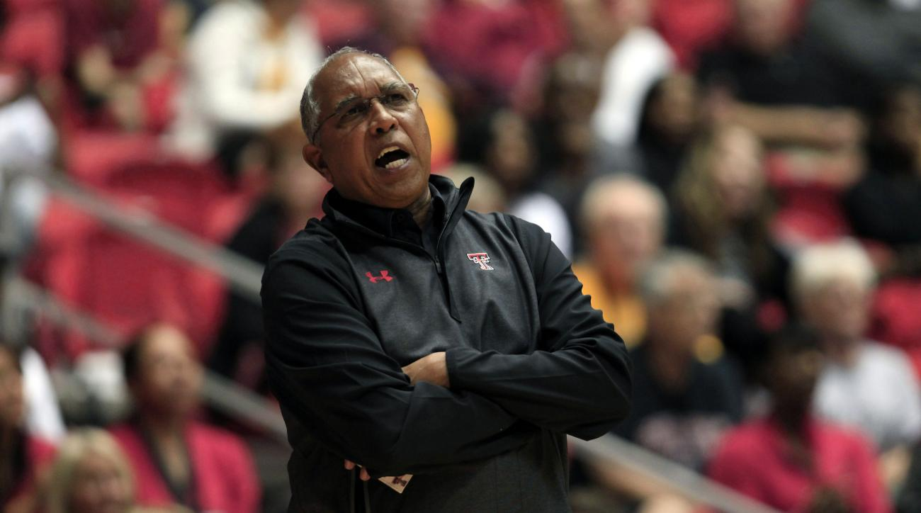 Texas Tech basketball coach Tubby Smith reacts to a play during the first half of the Puerto Rico Tip-Off college basketball tournament against Utah in San Juan, Thursday, Nov. 19, 2015. (AP Photo/Ricardo Arduengo)