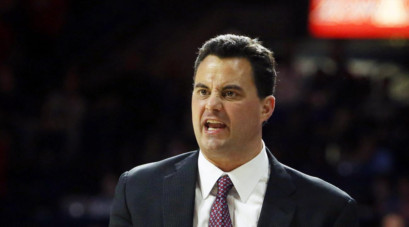 Arizona head coach Sean Miller reacts to a call during the first half of an NCAA college basketball game against Boise State, Thursday, Nov. 19, 2015, in Tucson, Ariz. (AP Photo/Rick Scuteri)