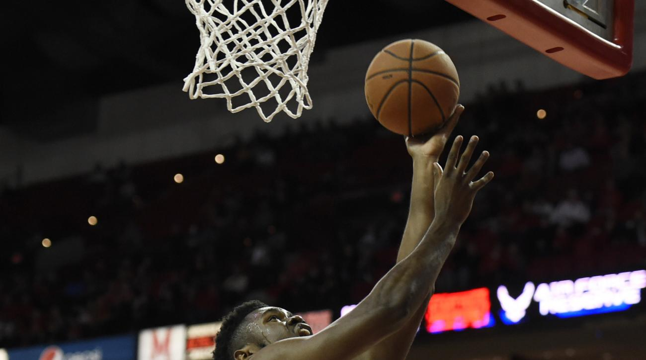 Maryland's  Diamond Stone shoots against Rider during the first half of an NCAA college basketball game, Friday, Nov. 20, 2015, in College Park, Md. Maryland won 65-58. (AP Photo/Gail Burton)