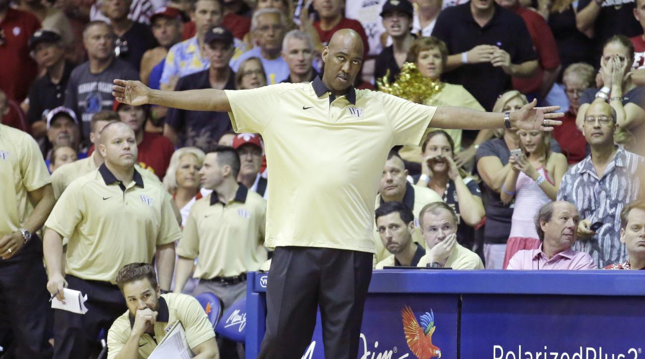 Wake Forest head coach Danny Manning looks on in the second half of an NCAA college basketball game against Indiana in the first round of the Maui Invitational, Monday, Nov. 23, 2015, in Lahaina, Hawaii. Wake Forest won 82-78. (AP Photo/Rick Bowmer)