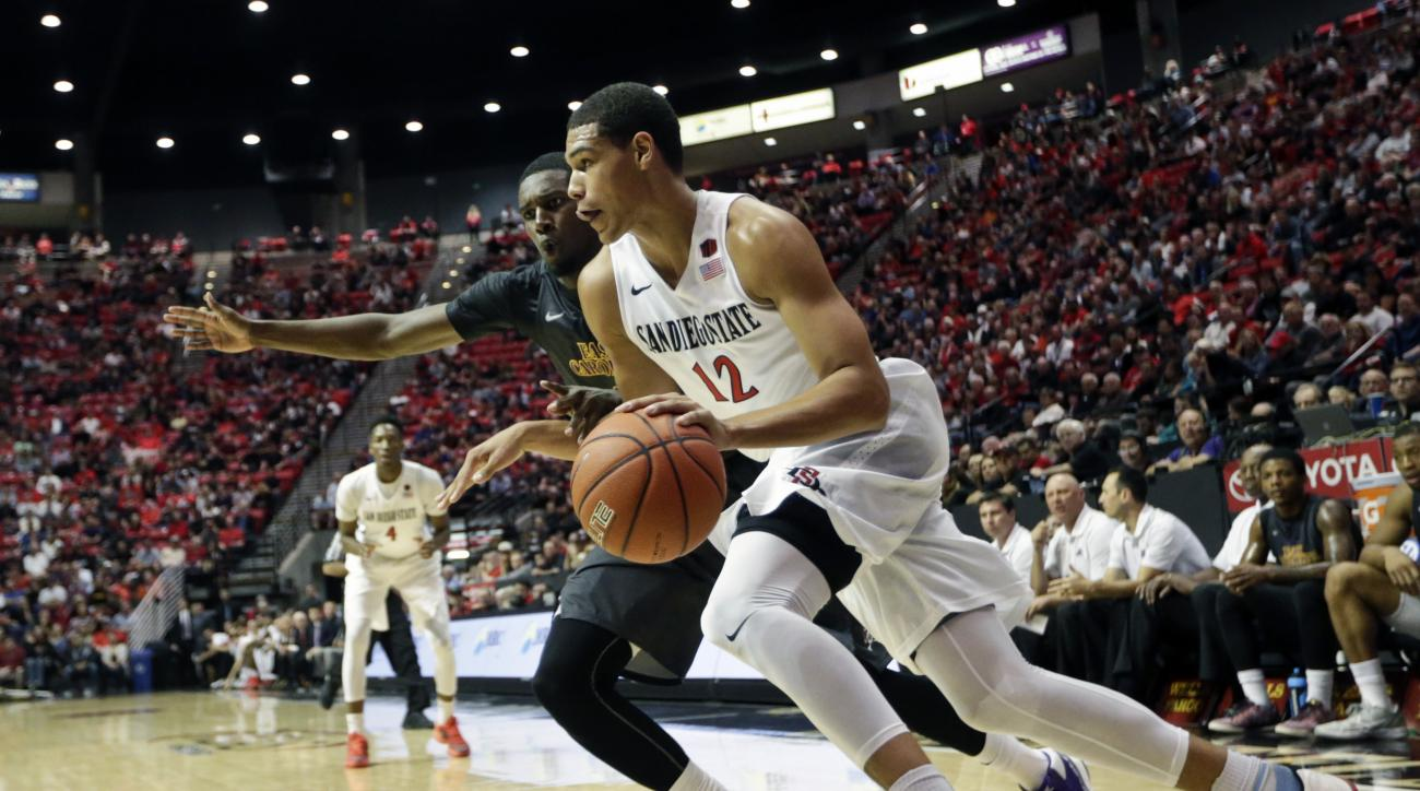 San Diego State guard Trey Kell drives to the basket against the East Carolina's Caleb White in the first half of an NCAA college basketball game Monday, Nov. 23, 2015, in San Diego. (AP Photo/Lenny Ignelzi)