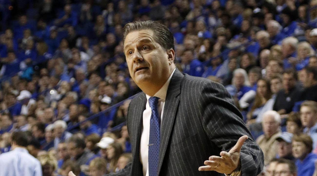 Kentucky head coach John Calipari questions a player during the second half of an NCAA college basketball game against Boston University Tuesday, Nov. 24, 2015, in Lexington, Ky. Kentucky won 82-62. (AP Photo/James Crisp)