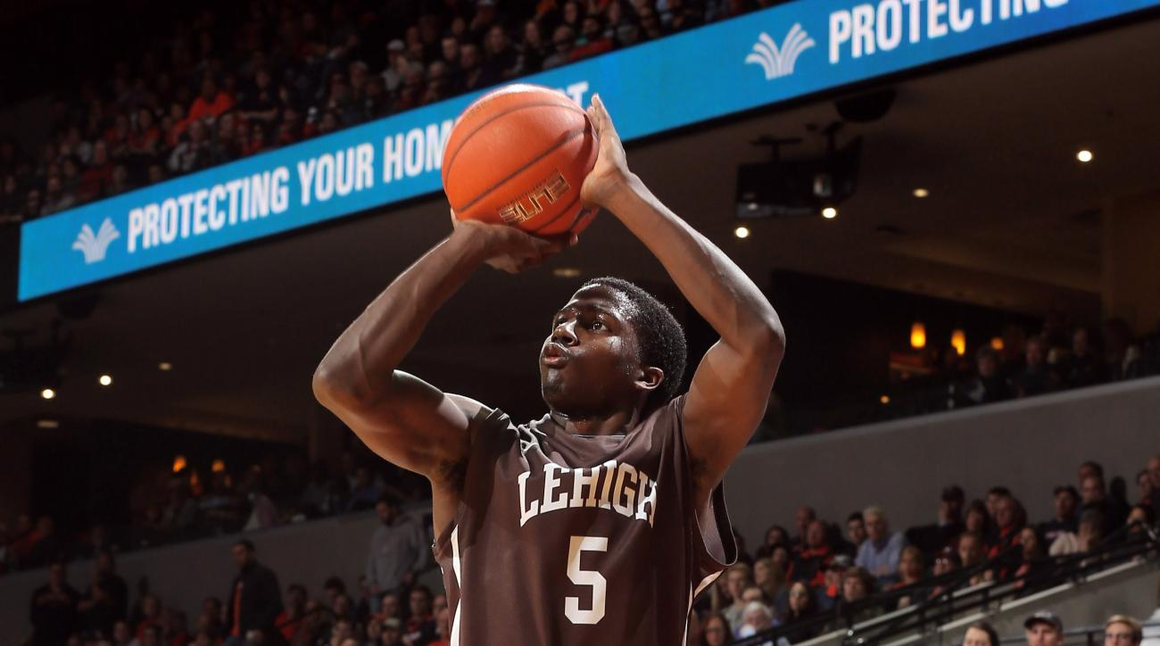 Lehigh guard Austin Price (5) shoots a 3-point shot during an NCAA college basketball game against Virginia, Wednesday, Nov. 25, 2015, in Charlottesville, Va. (AP Photo/Andrew Shurtleff)