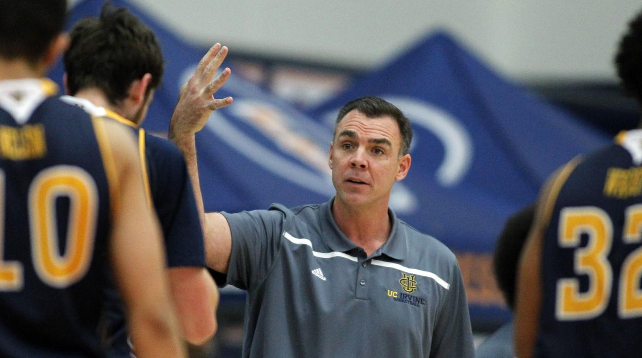 UC Irvine head coach Russell Turner reacts to a referee's call during the first half of an NCAA college basketball game against the Boise State in the quarterfinals of the Wooden Legacy tournament, in Fullerton, Calif., Thursday, Nov. 26, 2015. (AP Photo/