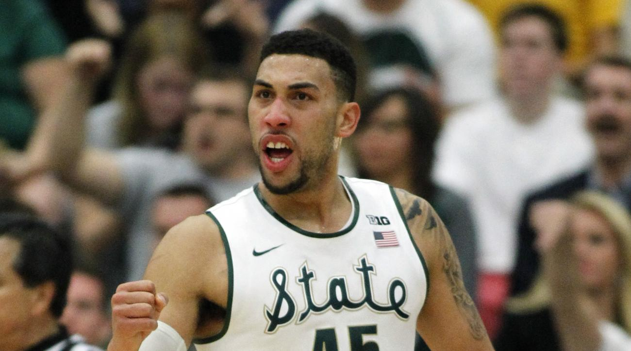 Michigan State guard Denzel Valentine (45) reacts after making a basket against Boston College during the first half of an NCAA college basketball game in the quarterfinals of the Wooden Legacy tournament, in Fullerton, Calif., Thursday, Nov. 26, 2015. (A
