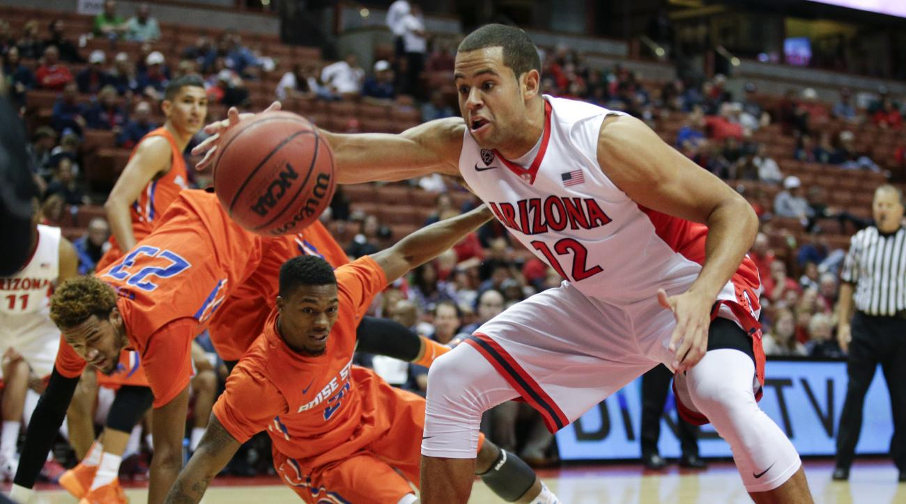 Arizona forward Ryan Anderson, right, gets the ball as Boise State's James Webb III, background left, and Montigo Alford watch during the second half of an NCAA college basketball game at the Wooden Legacy tournament, Sunday, Nov. 29, 2015, in Anaheim, Ca