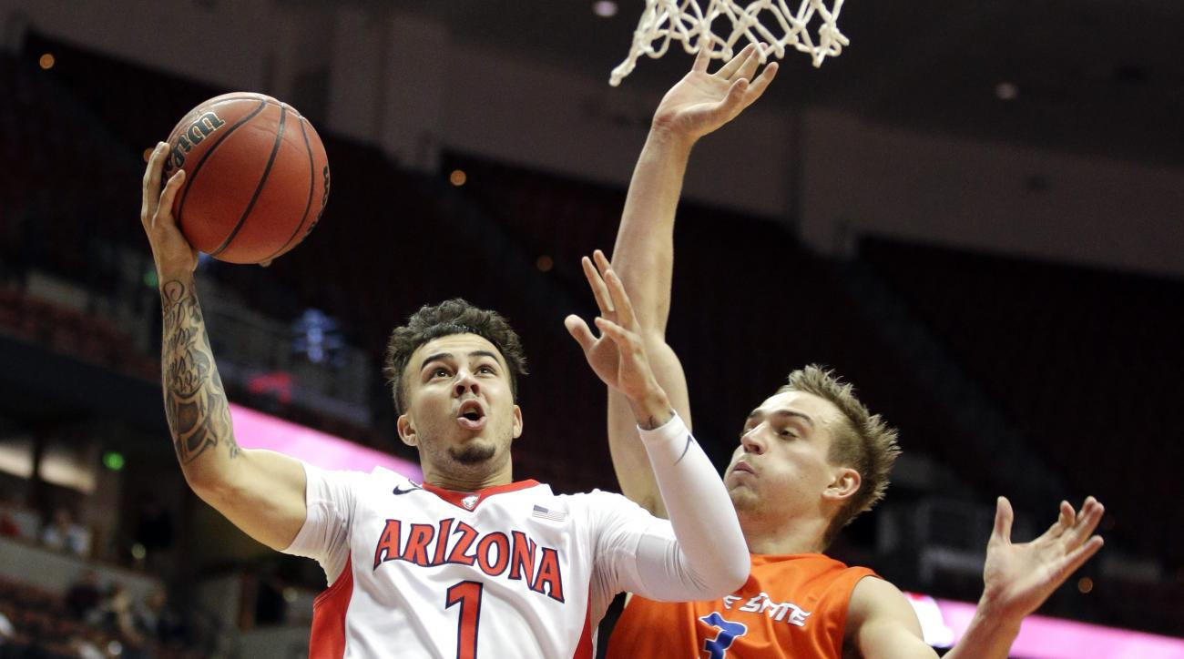 Arizona guard Gabe York, left, drives to the basket under pressure by Boise State guard Anthony Drmic during the second half of an NCAA college basketball game at the Wooden Legacy tournament, Sunday, Nov. 29, 2015, in Anaheim, Calif. (AP Photo/Jae C. Hon