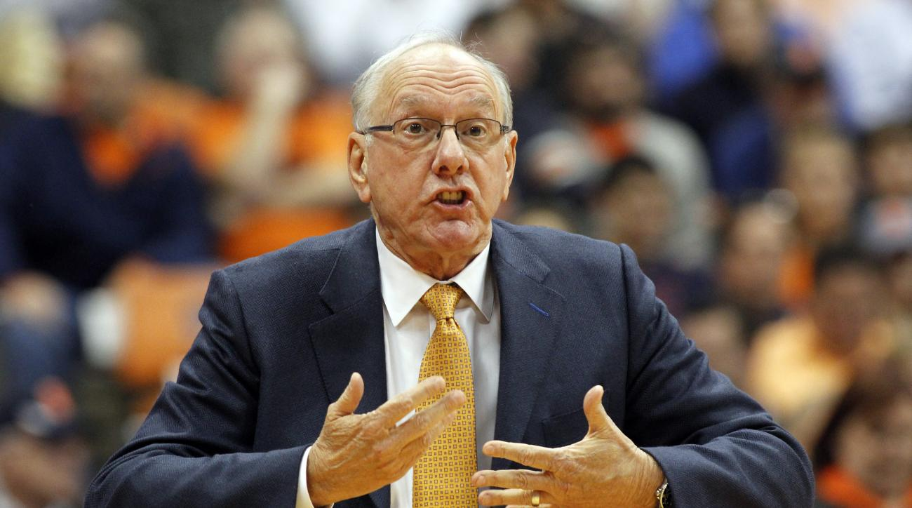 Syracuse head coach Jim Boeheim yells to his players in the first half of an NCAA college basketball game against Wisconsin in Syracuse, N.Y., Wednesday, Dec. 2, 2015. (AP Photo/Nick Lisi)