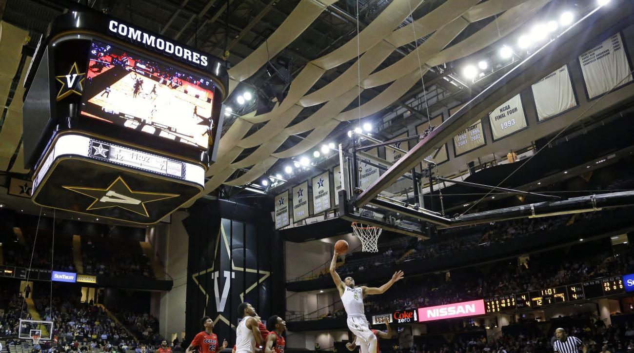 Vanderbilt guard Wade Baldwin IV (4) scores against Detroit in the first half of an NCAA college basketball game Wednesday, Dec. 2, 2015, in Nashville, Tenn. (AP Photo/Mark Humphrey)