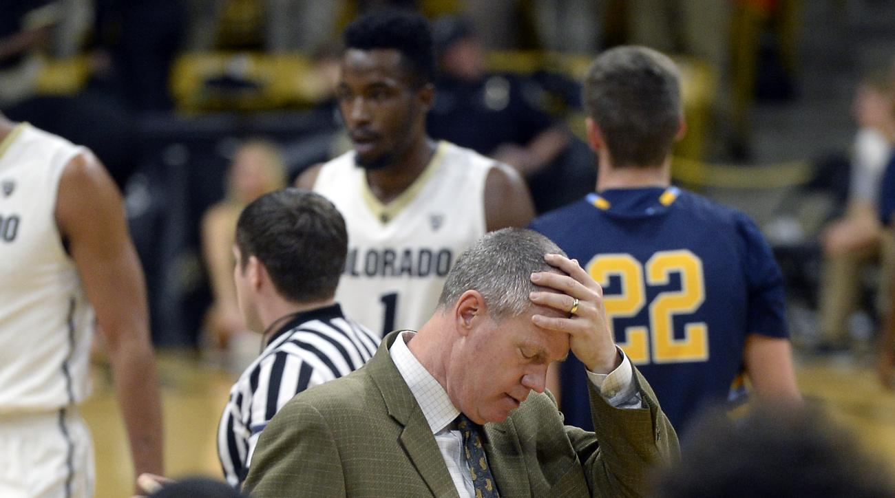 University of Colorado head coach Tad Boyle shows his frustration with his team in the first half of an NCAA college basketball game against Fort Lewis College on Wednesday, Dec. 2, at the Coors Event Center on the CU campus in Boulder, Colo. (Jeremy Papa