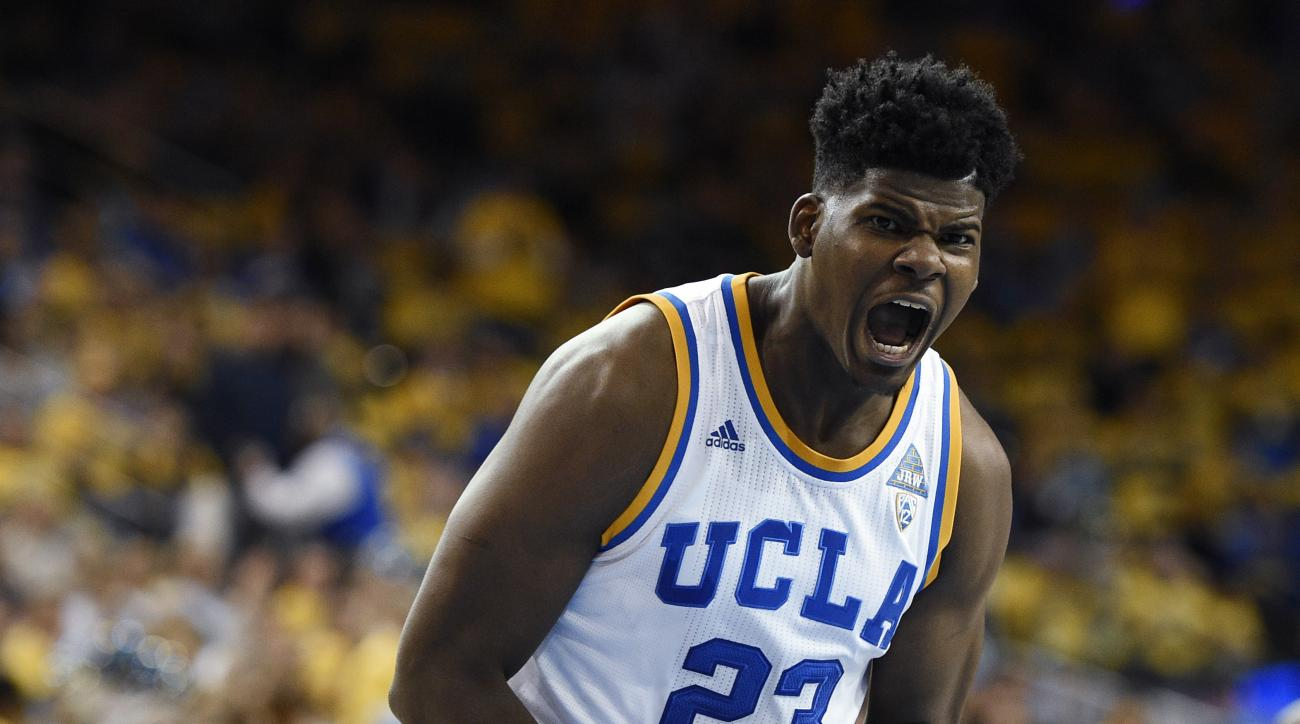 UCLA forward Tony Parker reacts after making a shot during the first half of an NCAA college basketball game against Kentucky in Los Angeles, Thursday, Dec. 3, 2015. (AP Photo/Kelvin Kuo)