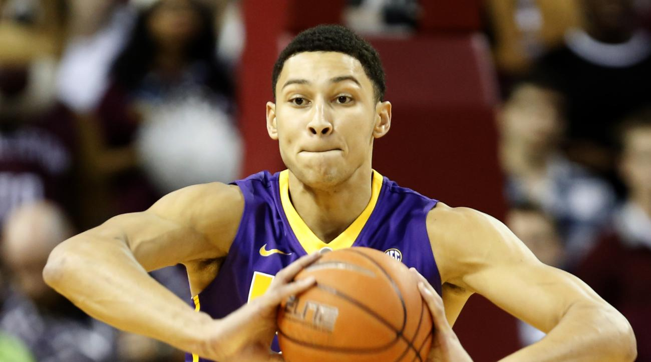 FILE - In this Nov. 30, 2015, file photo, LSU's Ben Simmons looks to pass in the first half against the College of Charleston during an NCAA college basketball game at TD Arena, in Charleston, S.C. LSU freshman forward Ben Simmons has lived up to his recr