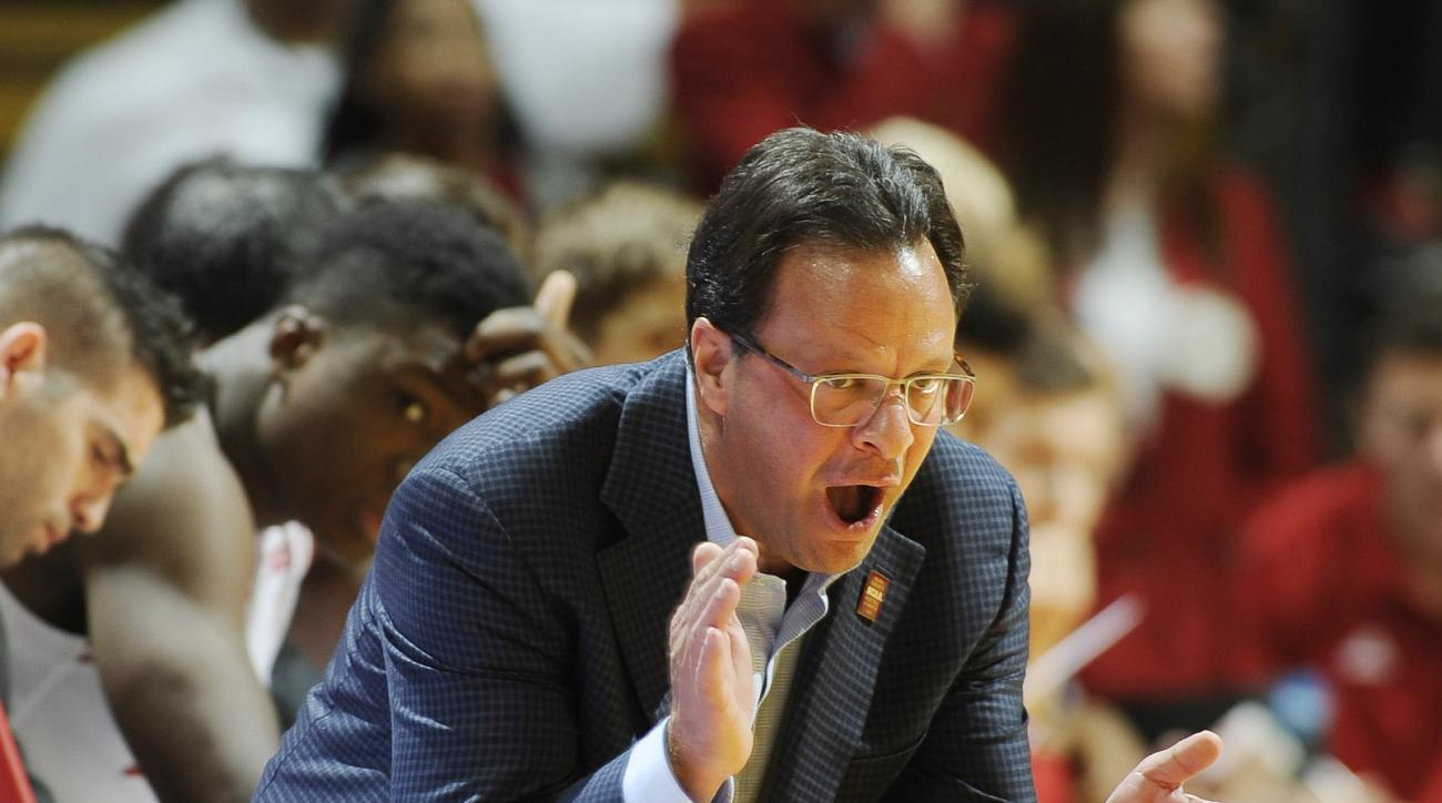 Indiana head coach Tom Crean during an NCAA college basketball game  in Bloomington, Ind., Saturday, Dec. 5, 2015. (Chris Howell/The Herald-Times via AP)