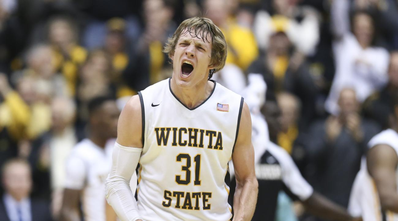 Wichita State guard Ron Baker yells during the first half of an NCAA college basketball game against UNLV on Wednesday, Dec. 9, 2015, in Wichita, Kan. (Travis Heying/The Wichita Eagle via AP) LOCAL TELEVISION OUT; MAGS OUT; LOCAL RADIO OUT; LOCAL INTERNET