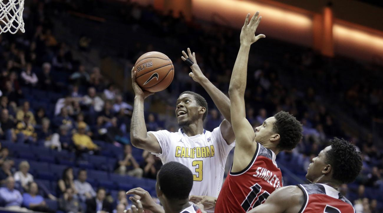 California's Tyrone Wallace (3) shoots against Incarnate Word in the second half of an NCAA college basketball game Wednesday, Dec. 9, 2015, in Berkeley, Calif. (AP Photo/Ben Margot)