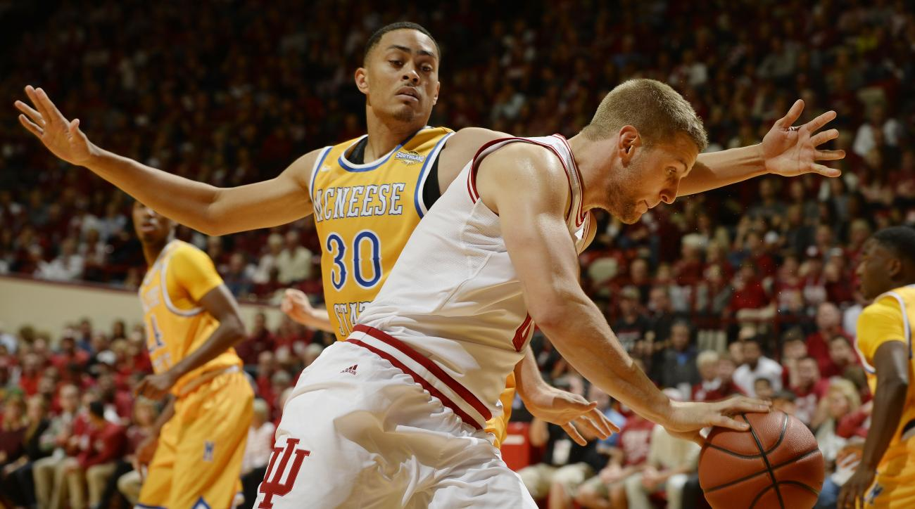 McNeese State forward Adrian Brown (30) defends against Indiana forward Max Bielfeldt (0) during an NCAA college basketball game at Assembly Hall in Bloomington, Ind., Saturday, Dec. 12, 2015. (Chris Howell(/The Herald-Times via AP) MANDATORY CREDIT