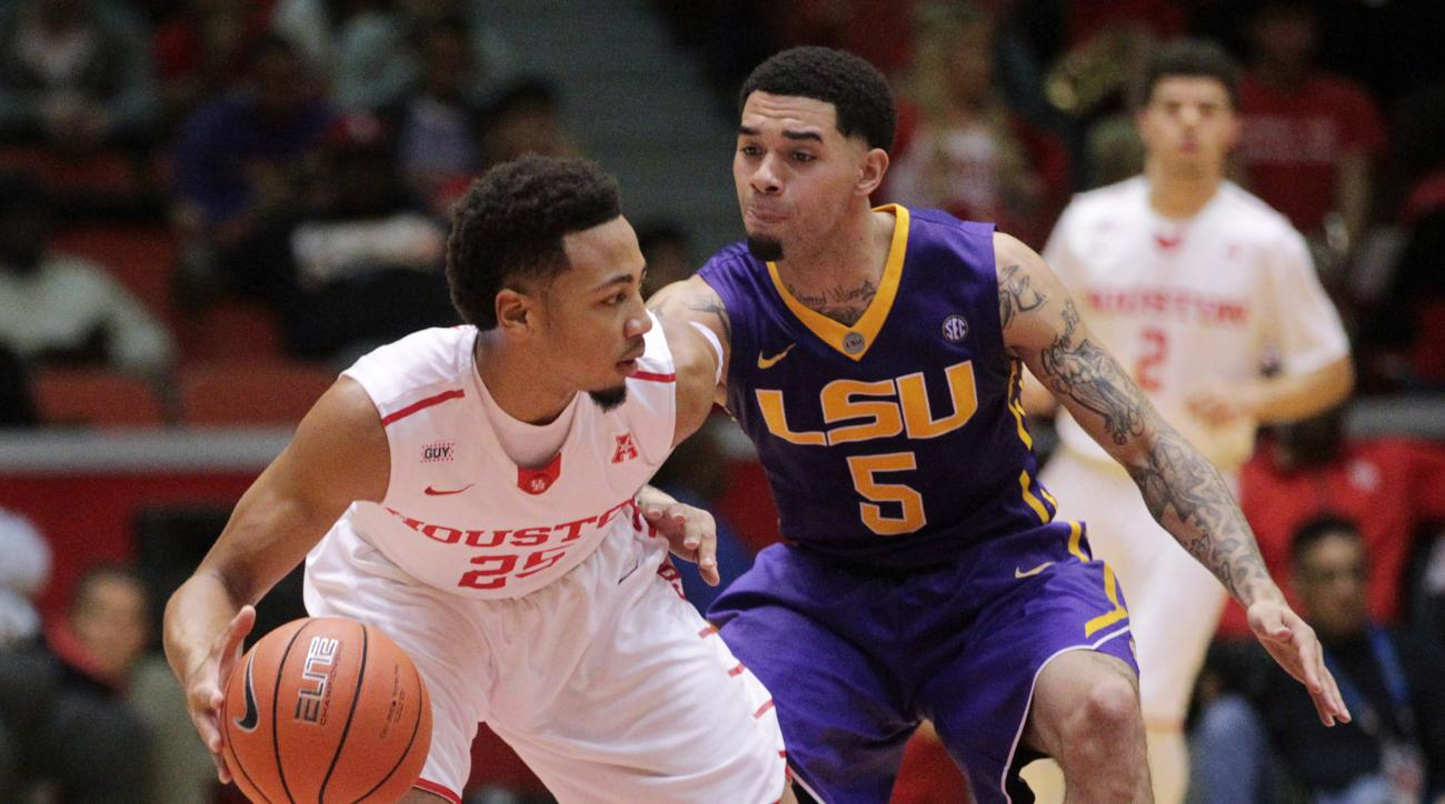 LSU guard Josh Gray (5) guards Houston guard Galen Robinson Jr. (25) as he moves the ball during the first half of an NCAA college basketball game at Hofheinz Pavillion Sunday, Dec. 13, 2015, in Houston. (Jon Shapley/Houston Chronicle via AP)
