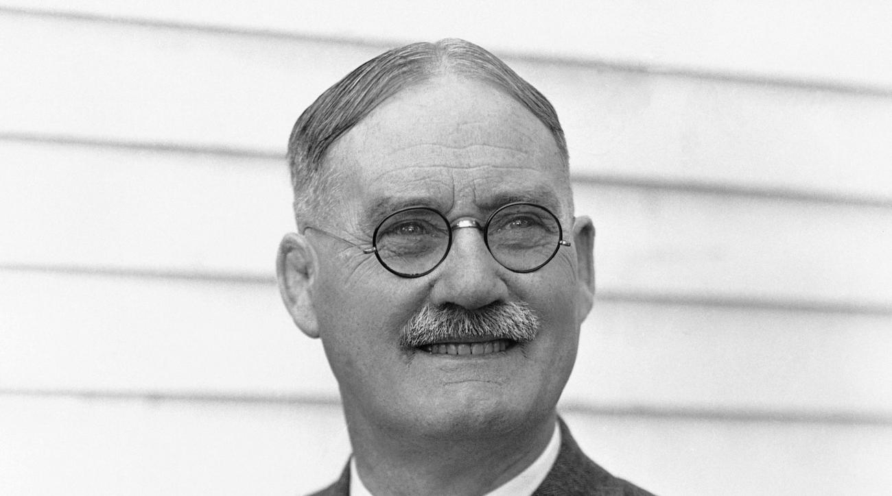 FILE - This is a 1939 file photo showing Dr. James Naismith, in Lawrence, Kansas. A University of Kansas researcher has uncovered an audio recording of basketball inventor James Naismith talking about setting up the first game in 1891 in Massachusetts. Th