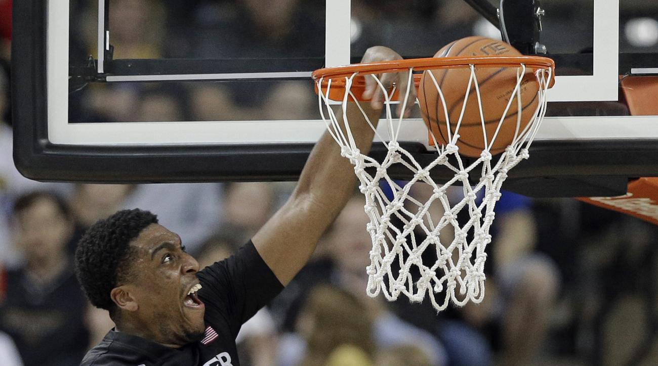 Xavier's James Farr (2) dunks against Wake Forest in the first half of an NCAA college basketball game in Winston-Salem, N.C., Tuesday, Dec. 22, 2015. (AP Photo/Chuck Burton)
