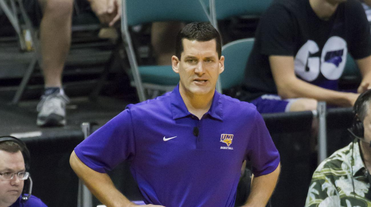 Northern Iowa coach Ben Jacobson watches his team play Washington State during the first half of an NCAA college basketball game at the Diamond Head Classic, Wednesday, Dec. 23, 2015, in Honolulu. (AP Photo/Eugene Tanner)