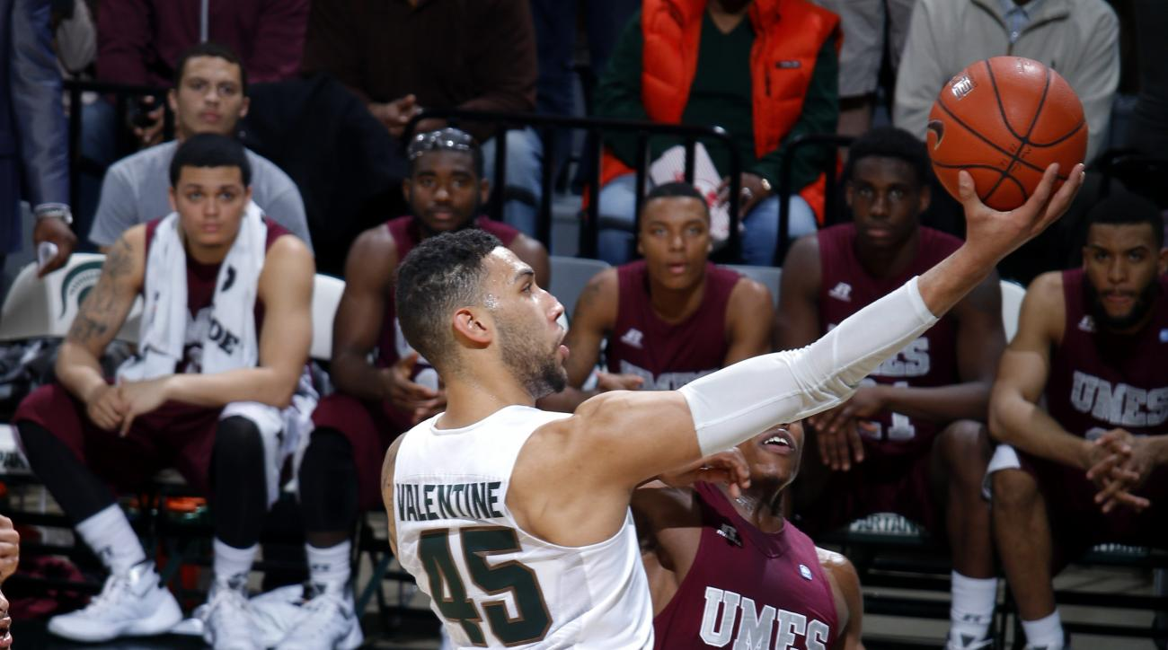 FILE - In this Dec. 9, 2015, file photo, Michigan State's Denzel Valentine (45) puts up a driving layup against Maryland-Eastern Shore during an NCAA college basketball game in East Lansing, Mich. After recent years with the focus locked on one-and-done t