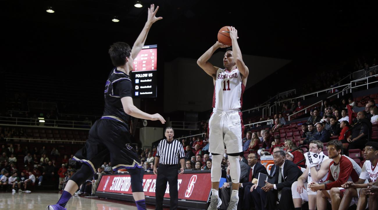 Stanford guard Dorian Pickens (11) shoots against Carroll during the second half of an NCAA college basketball game Sunday, Dec. 27, 2015, in Stanford, Calif. (AP Photo/Marcio Jose Sanchez)