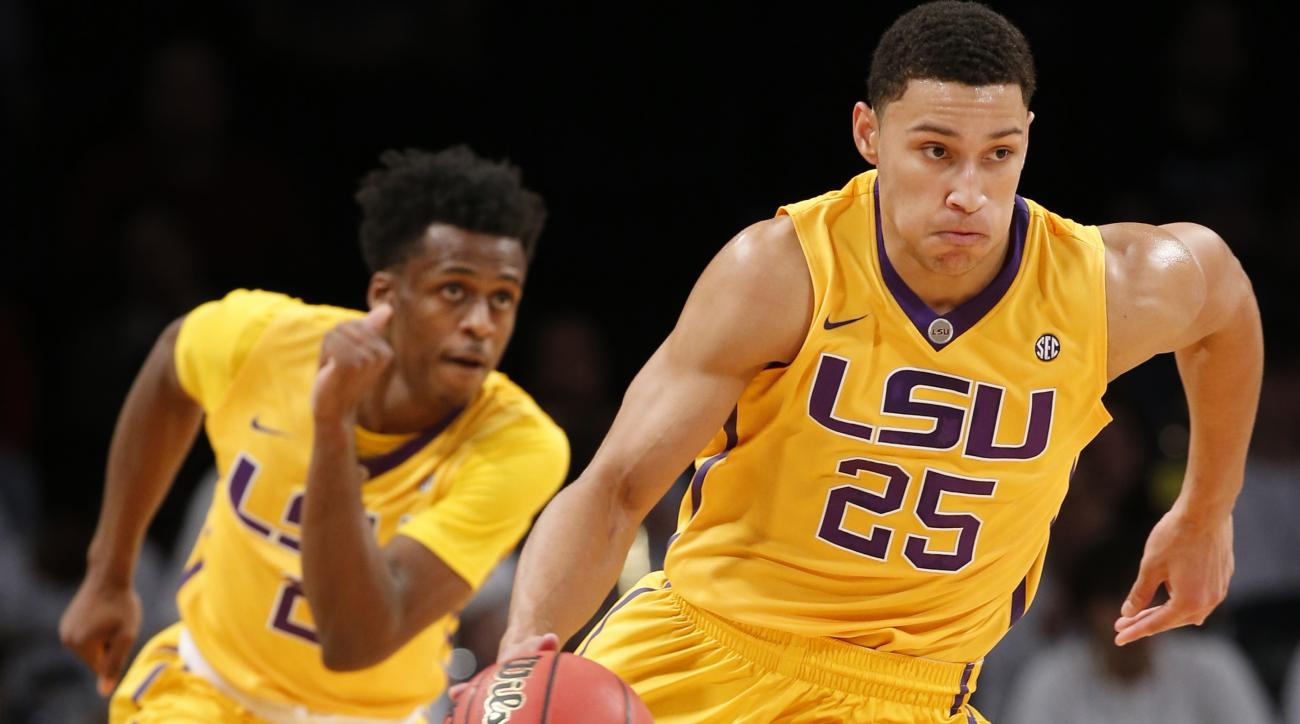 FILE - In this Nov. 24, 2015, file photo, LSU forward Ben Simmons (25) drives downcourt as teammate Antonio Blakeney (2) follows in the first half of an NCAA college basketball game against North Carolina State in New York. For all of his gaudy numbers, S
