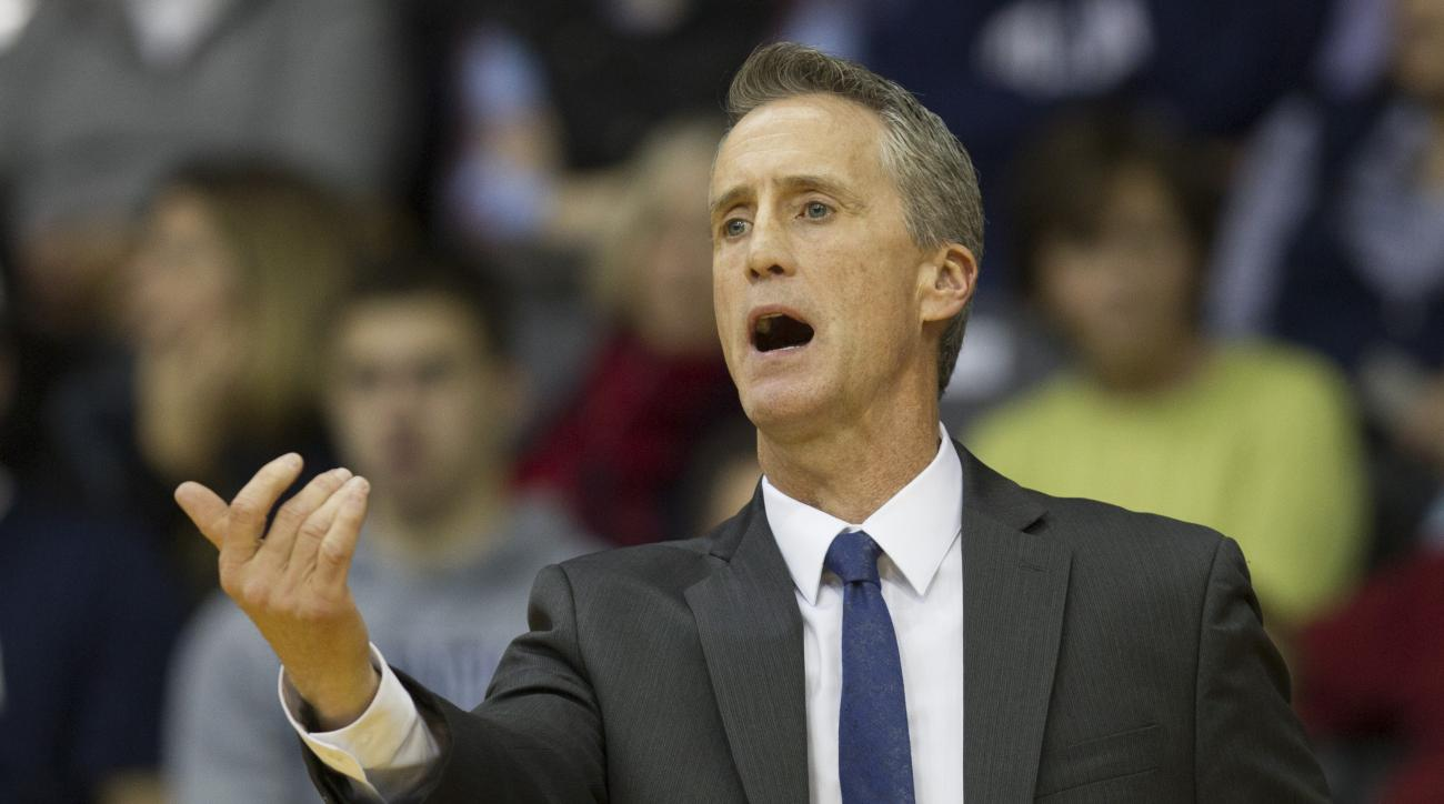 Penn head coach Steve Donahue shouts from the bench in the first half of an NCAA college basketball game against Villanova, Monday, Dec. 28, 2015, in Villanova, Pa. (AP Photo/Laurence Kesterson)