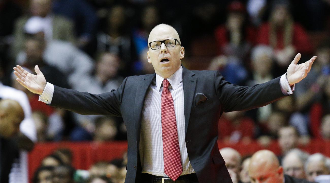 Cincinnati's head coach Mick Cronin reacts to a call in the second half of an NCAA college basketball game against Temple, Tuesday, Dec. 29, 2015, in Cincinnati. Temple won 77-70. (AP Photo/John Minchillo)