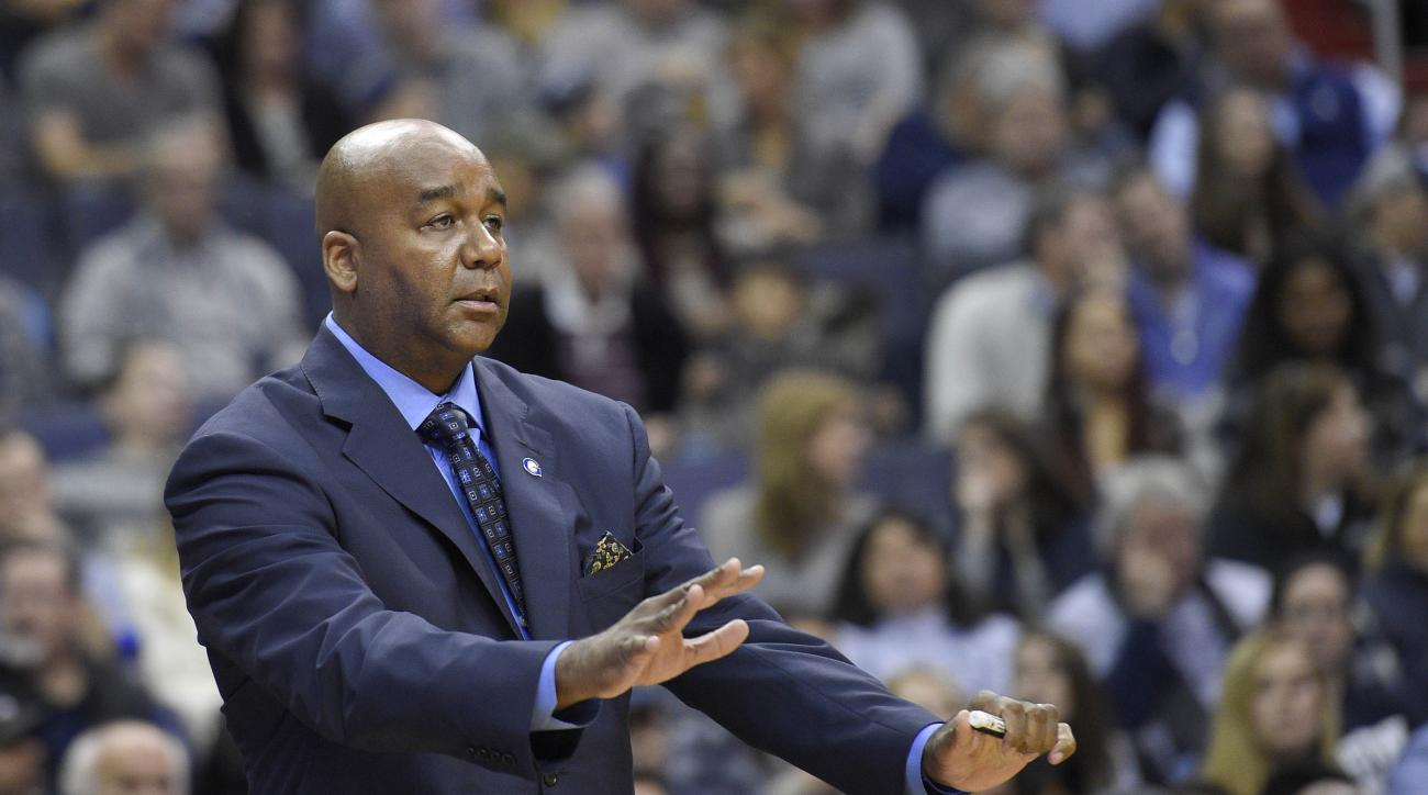 FILE - In this Saturday, Dec. 5, 2015 file photo, Georgetown head coach John Thompson III gestures during the first half of an NCAA college basketball game against Syracuse in Washington. After a conscious effort to test a team that relies heavily on fres
