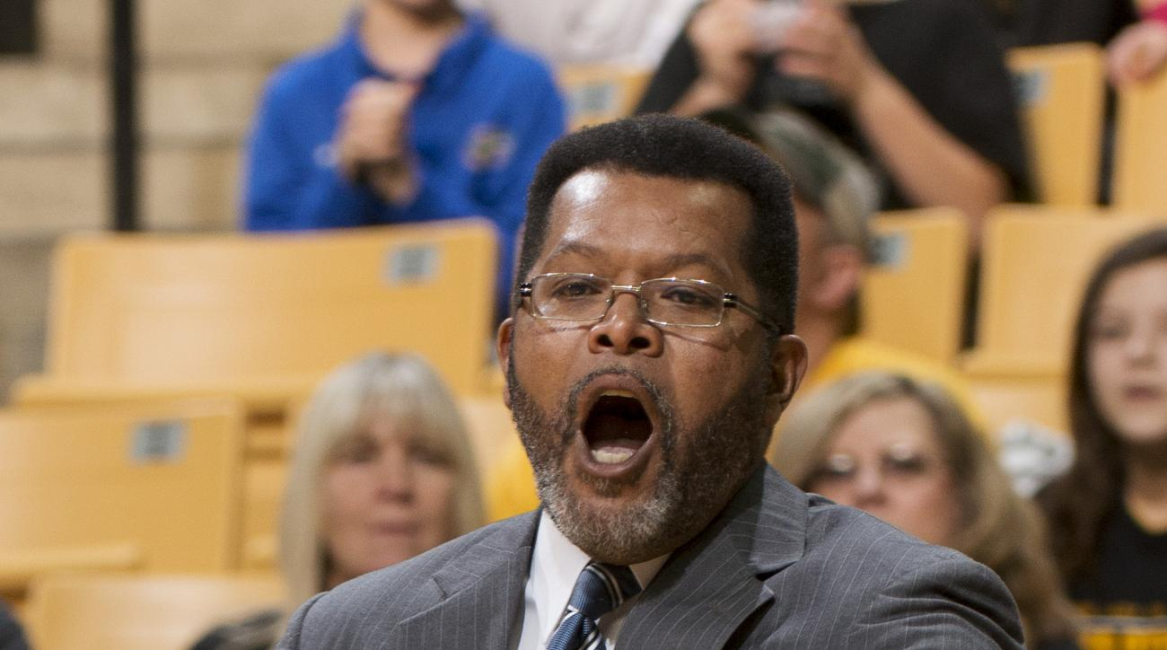 Savannah State head coach Horace Broadnax shouts instructions to his team during the first half of an NCAA college basketball game against Missouri, Saturday, Jan. 2, 2016, in Columbia, Mo. Missouri won the game 81-50. (AP Photo/L.G. Patterson)