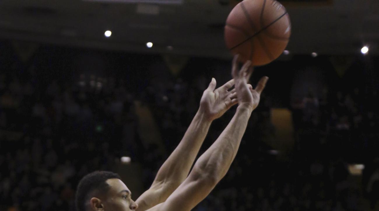 Vanderbilt's Wade Baldwin IV shoots a 3-pointer against LSU during an NCAA college basketball game Saturday, Jan. 2, 2016, in Nashville, Tenn. (Alan Poizner/The Tennessean via AP)