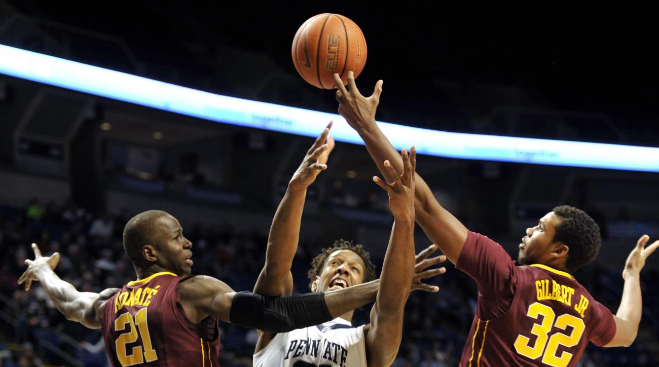 Penn State's Jordan Dickerson (32) fights for the ball with Minnesota's Bakary Konate (21) and Ahmad Gilbert (32) during an NCAA college basketball game, Tuesday, Jan. 5, 2016 in University Park, Pa. (Nabil K. Mark/Centre Daily Times via AP) MANDATORY CRE