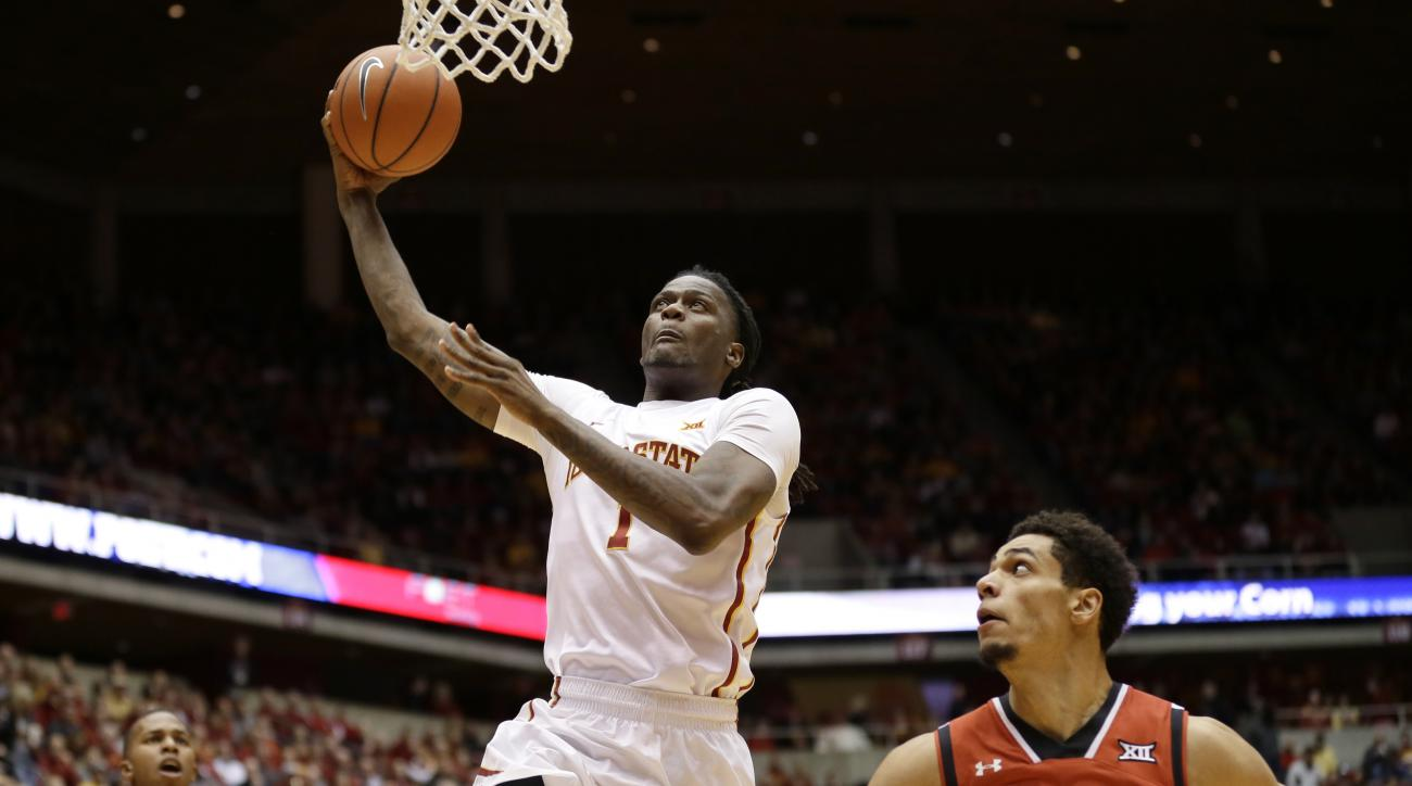 Iowa State forward Jameel McKay drives to the basket past Texas Tech forward Zach Smith, right, during the first half of an NCAA college basketball game Wednesday, Jan. 6, 2016, in Ames, Iowa. (AP Photo/Charlie Neibergall)