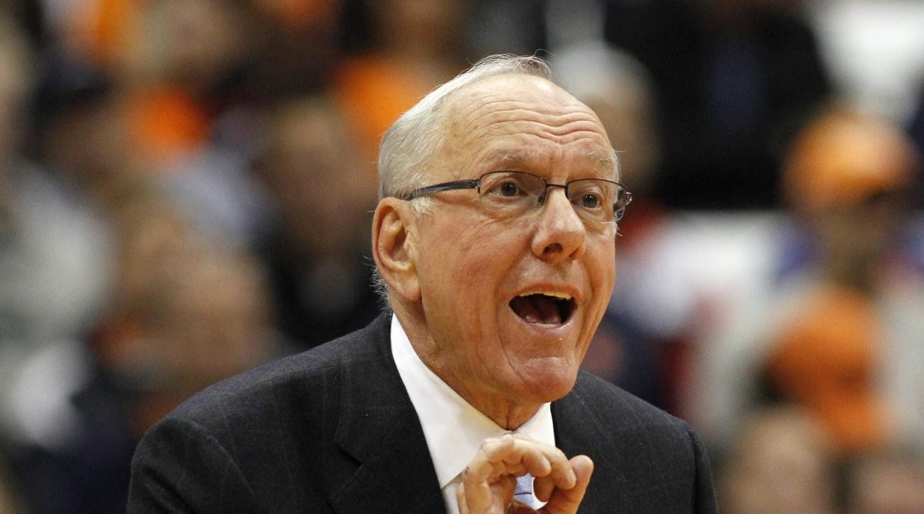 FILE - In this Nov. 13, 2015, file photo, Syracuse head coach Jim Boeheim calls out to his players in the second half of an NCAA college basketball game against Lehigh in Syracuse, N.Y. Boeheim is due to return from a nine-game NCAA suspension when the Or