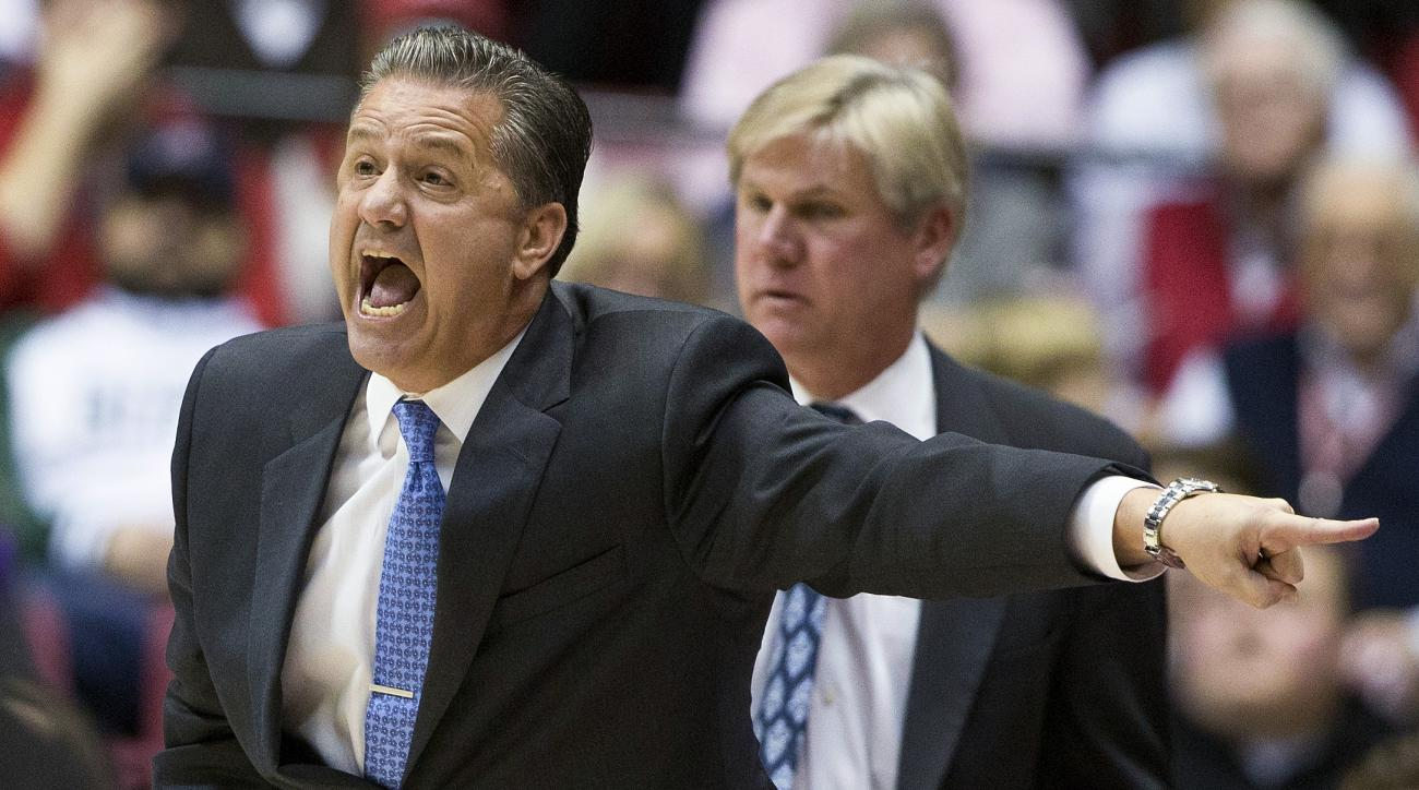 Kentucky coach John Calipari yells to officials after a foul was called during the first half of his team's NCAA college basketball game against Alabama, Saturday, Jan. 9, 2016, in Tuscaloosa, Ala. (AP Photo/Brynn Anderson)