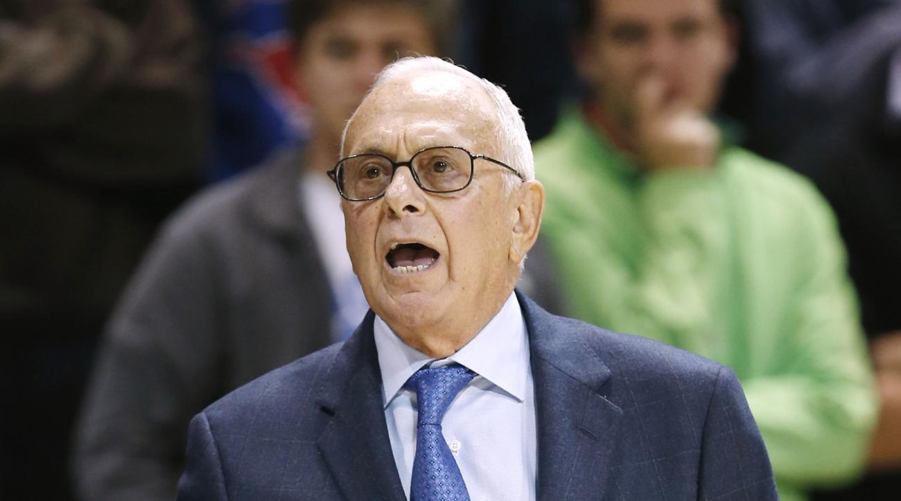 SMU head coach Larry Brown shouts instructions to his players during the first half of an NCAA college basketball game against Central Florida, Sunday, Jan. 10, 2016, in Dallas. Brown did not return for the second half because he was not feeling well and