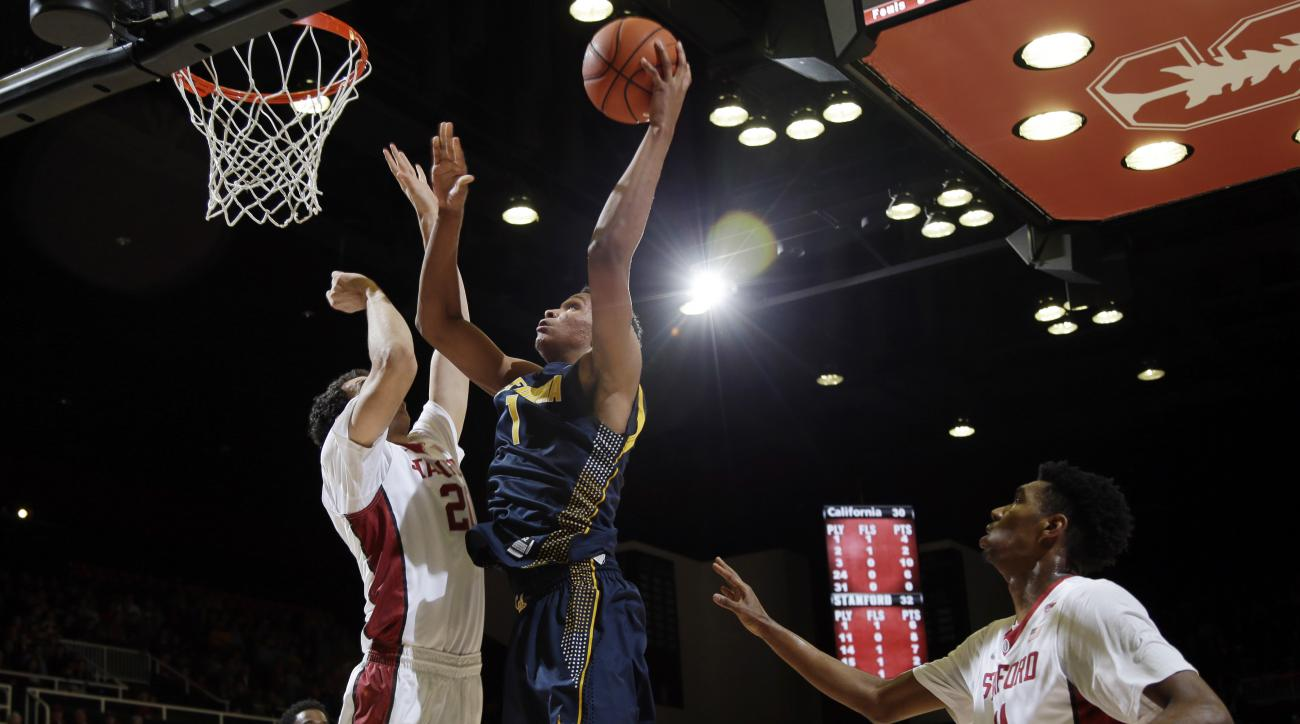 California forward Ivan Rabb (1) goes up for a shot against Stanford during the first half of an NCAA college basketball game Thursday, Jan. 14, 2016, in Stanford, Calif. (AP Photo/Marcio Jose Sanchez)