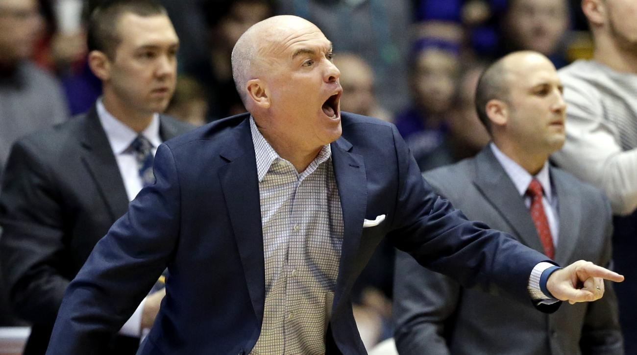Penn State head coach Patrick Chambers reacts as he watches his team during the first half of an NCAA college basketball game against Northwestern, Saturday, Jan. 16, 2016, in Evanston, Ill. (AP Photo/Nam Y. Huh)